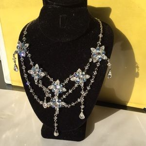 Very light blue crystal necklace